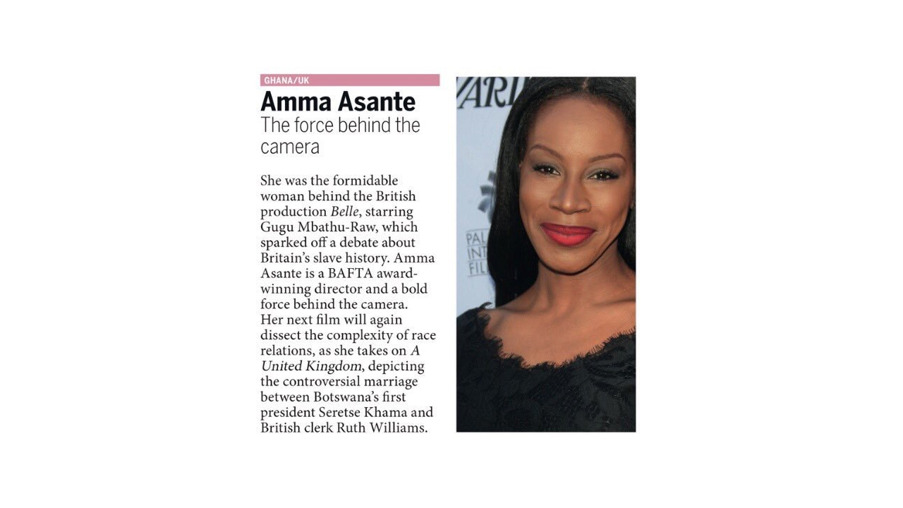 Amma Asante Makes the List of Africa's 100 Most Influential People